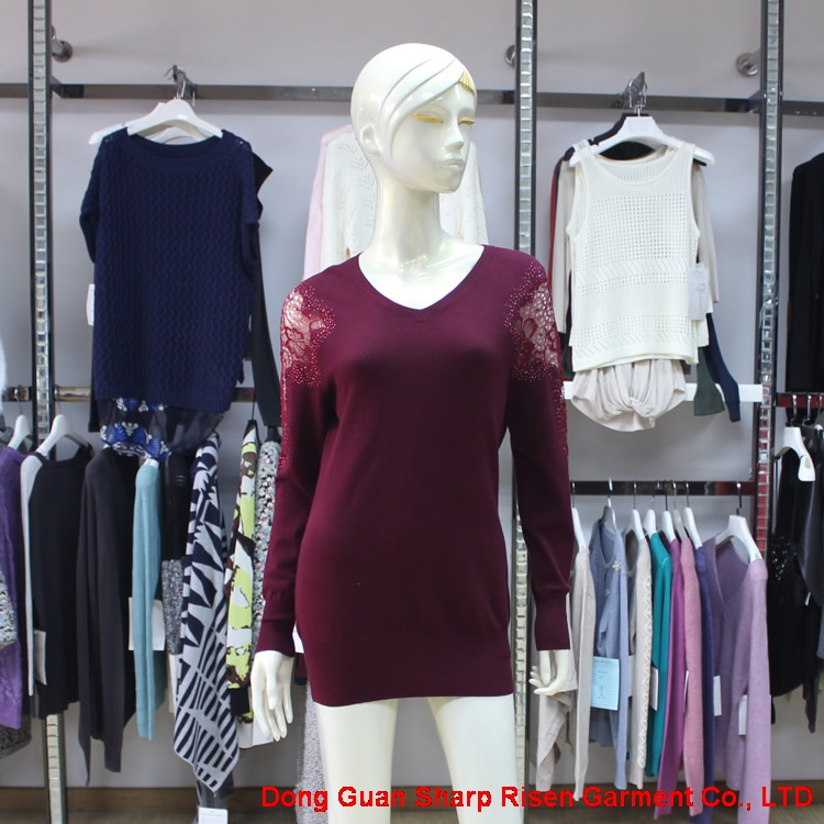 V Neck Lace Pullover For Woman 07-2665