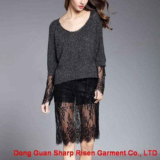 Medium length lace stitching sweater 1706054