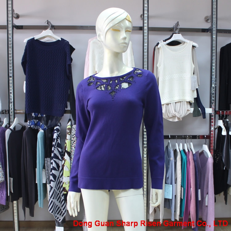 Blue Colour Round Neck Knit Pullover 170132