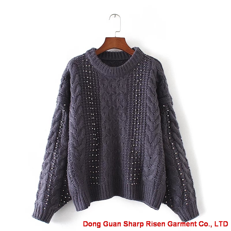 Loose knit Beaded Pullover 1706085