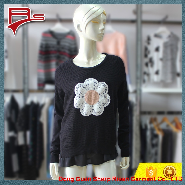 Large Flower Pattern Pullover Sweater 1704020