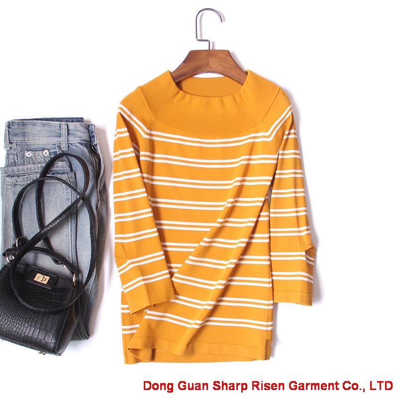 three-quarter sleeve Striated Pullover 1706154