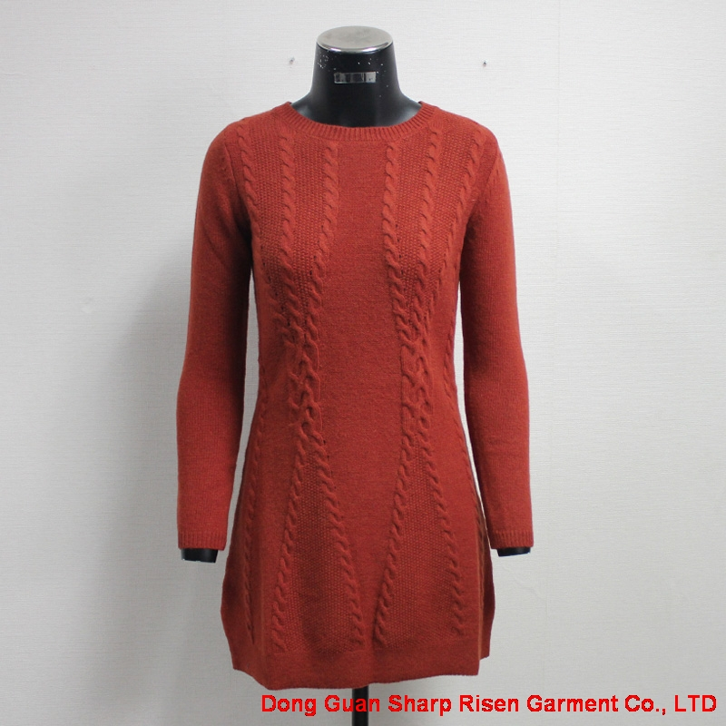 Ladies Winter Thick Cable Sweater Dress 170405