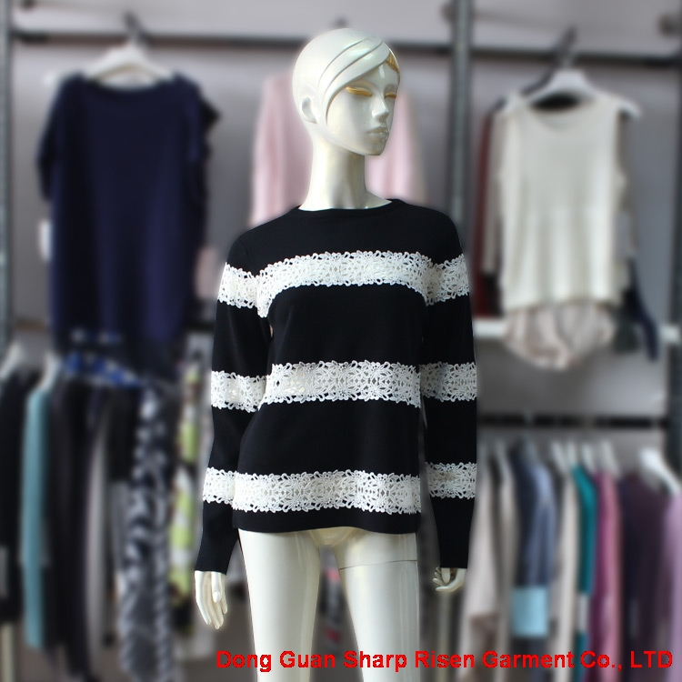 Lace Stripes Knit Pullover Sweater 170349