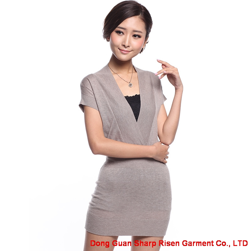 V-neck Dress Short sleeved sweater dress TS-303