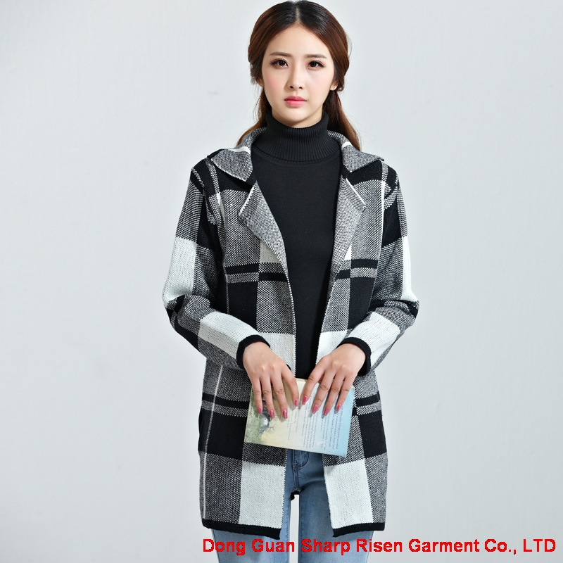 Plaid sweater cardigan C506