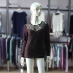 Women Coffee Lace Pullover Sweater 170215
