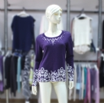 Middle-Aged Womens Purple Pullover 170201