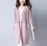 Cloth stitching long cardigan 1706070