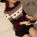 Heart-shaped pin bead pattern female sweater 1706165