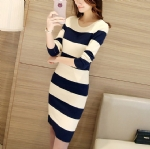 Black and white Slim knitted dress 1706174