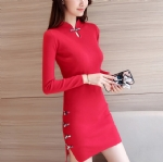 Slim cheongsam  knitting dress 1706175