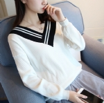 Color deep V collar Pullover 1706193