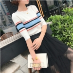 Five point Sleeve Striped ladies sweater 1708020