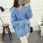 Warm V collar thick sweater 1708022
