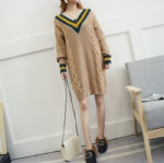 Warm V collar thick sweater Dress 1708023